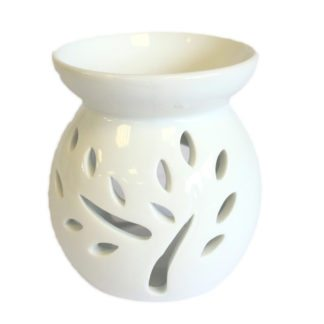 Small Classic White Oil Burner - Tree Cut-out