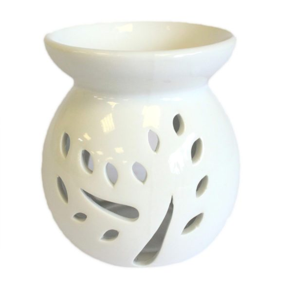 Large Classic White Oil Burner - Tree Cut-out