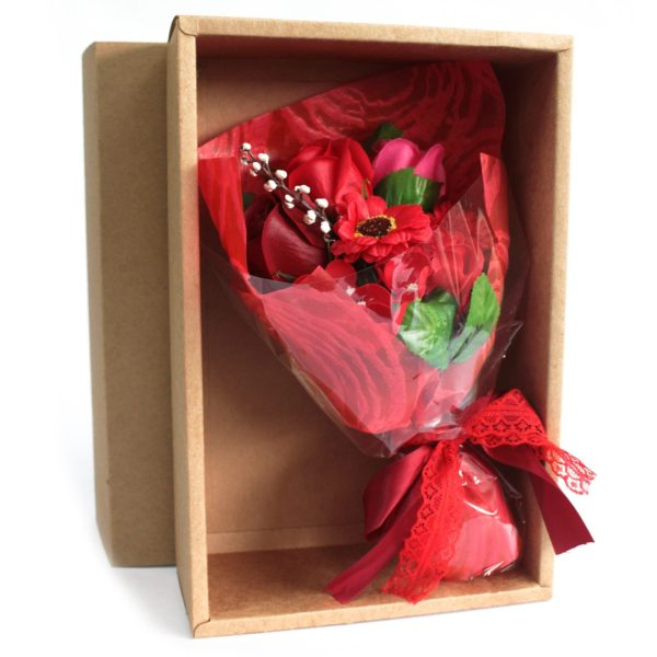Boxed Hand Soap Flower Bouquet - Red