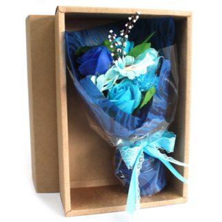 Boxed Hand Soap Flower Bouquet - Blue