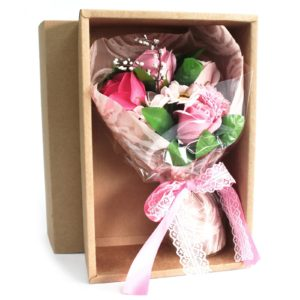 Boxed Hand Soap Flower Bouquet - Pink