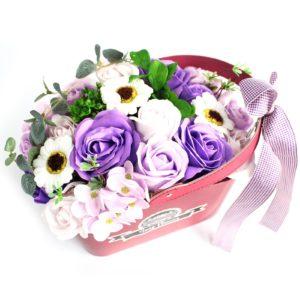 Basket Soap Flower Bouquet - Lilac