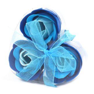 1x Set of 3 Soap Flower Heart Box - Blue Wedding Roses