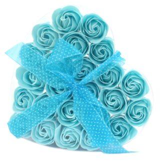 1x Set of 24 Soap Flower Heart Box - Blue Roses