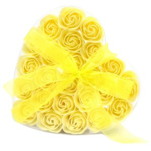 1x Set of 24 Soap Flower Heart Box - Yellow Roses