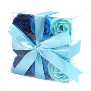 1x Set of 9 Soap Flowers - Blue Wedding Roses