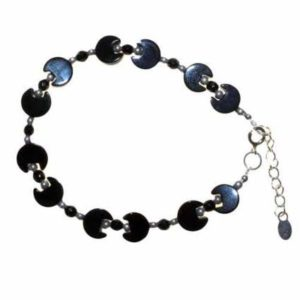 Black Moon, Stone and Silver Bracelet