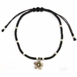 Black Waxed Silver Flower Bracelet