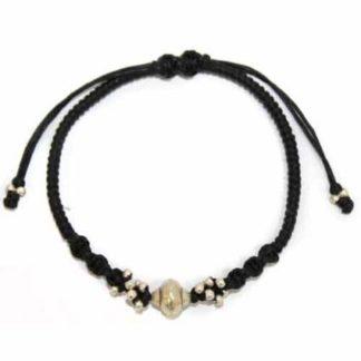 Black Waxed & Just Silver Bracelet