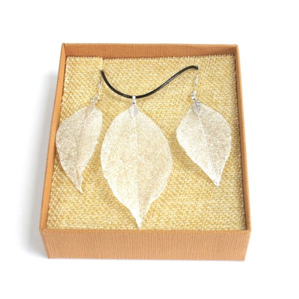 Bravery Leaf Set Real Leaf Jewellery - Necklace and Earrings