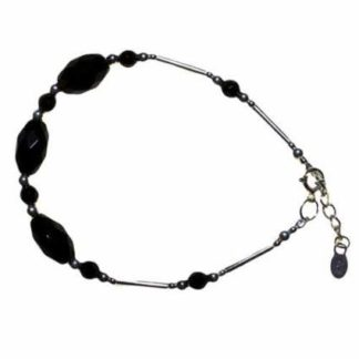 Classic Black Stone and Silver Bracelet