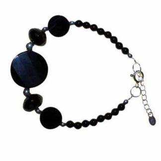 Large Black Stone and Silver Bracelet