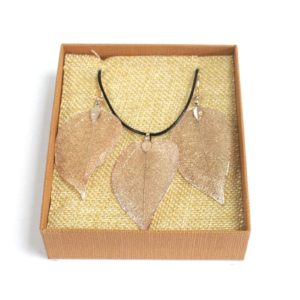 Real Leaf Jewellery Gift Bravery Leaf Rose Pink Gold