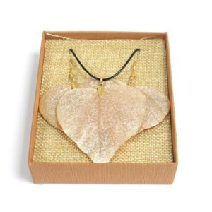 Real Leaf Jewellery Gift Heart Leaf Set Gold