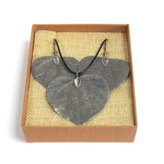 Real Leaf Jewellery Gift Heart Leaf Set Pewter