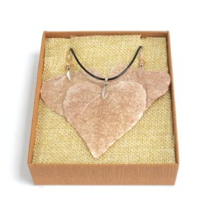 Real Leaf Jewellery Gift Heart Leaf Set Rose Gold