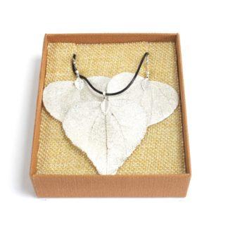 Real Leaf Jewellery Gift Heart Leaf Set Silver