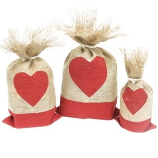 1x Danish Pouch Set of 3 - Red & Heart