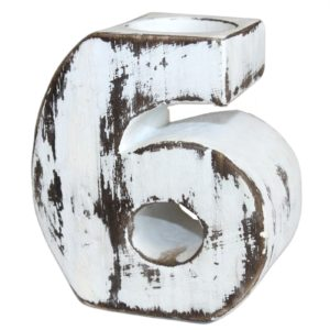 Wooden Birthday Candle Holder Number 6